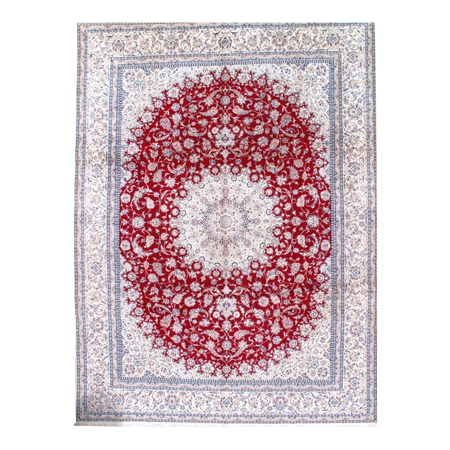 Pasargad N Y Persian Nain Hand-Knotted Silk and Wool Pile Rug - 10′3″ × 13′9″ For Sale