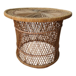 1970s Boho Chic Wicker Rattan Side Table