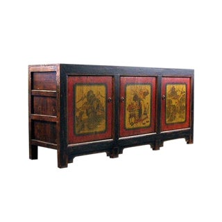 19th Century Asian Antique Mongolian Lacquer Painted Sideboard Credenza For Sale