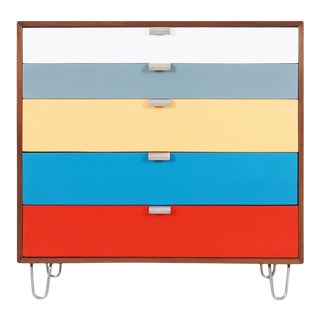 Herman Miller Multi-Color Lacquered & Walnut Chest of Drawers by George Nelson For Sale