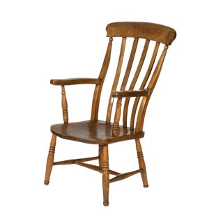 English Elm Vertical Slat Back Armchair Circa 1890 With Turned Legs and H-Stretcher For Sale