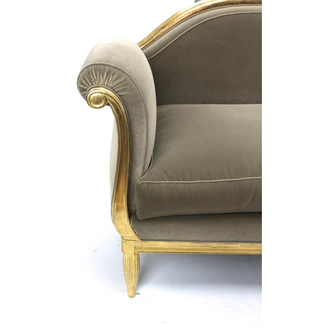 1930s Maurice Dufrène Awesome Refined Art Deco Carved Gilt Wood Frame Couch For Sale - Image 5 of 6