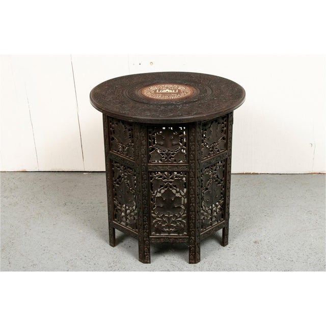 Indian Early 20th Century Indian Bone Inlaid Octagonal Occasional Table For Sale - Image 3 of 10