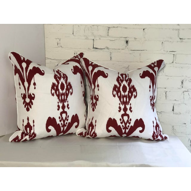 2010s Pair of Red and White Ikat Pillows by Jim Thompson For Sale - Image 5 of 10