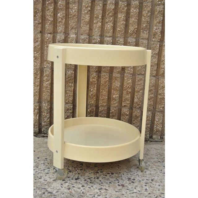 Joe Colombo Vintage Joe Colombo Style Mid Century Modern Plastic Round Bar Tea Cart For Sale - Image 4 of 11