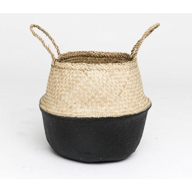 Natural handwoven black sea grass baskets. Known as 'belly baskets' they are flexible, foldable, and incredibly sturdy,...
