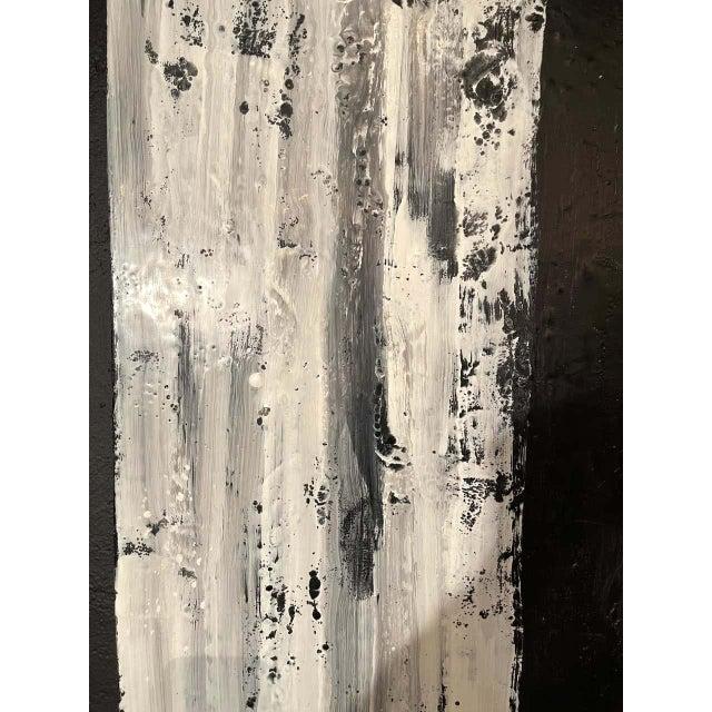 "Lynn Basa Encaustic Black and White Stripe Panel ""Three Ways of Looking Black"" For Sale - Image 10 of 13"