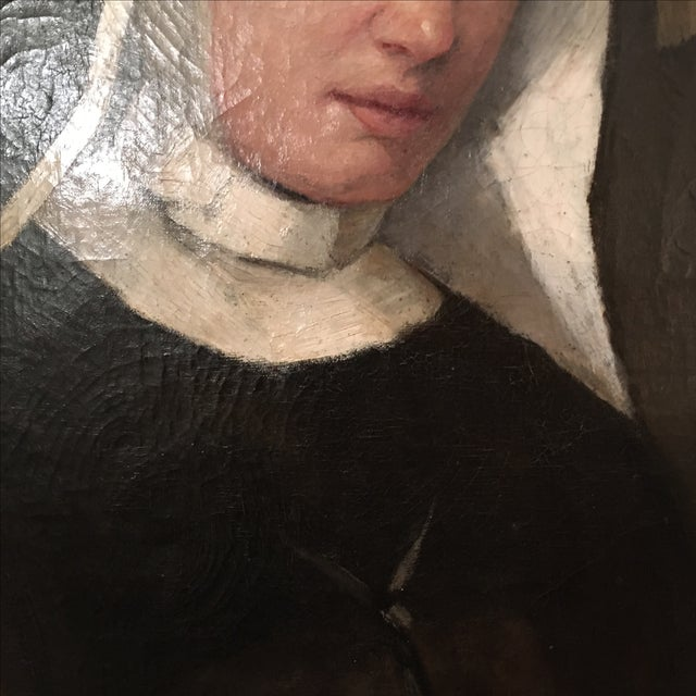 Antique Oil Painting of a Nun - Image 6 of 6