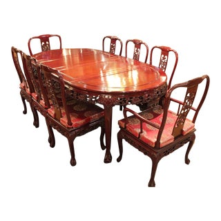 Vintage Chinese Carved Dining Set - 9 Pieces For Sale