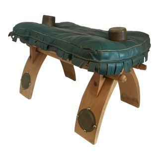 Turquoise Leather Camel Saddle For Sale