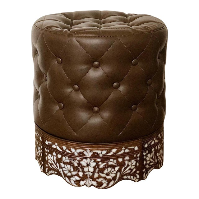 Contemporary Mother of Pearl Inlay Stool For Sale