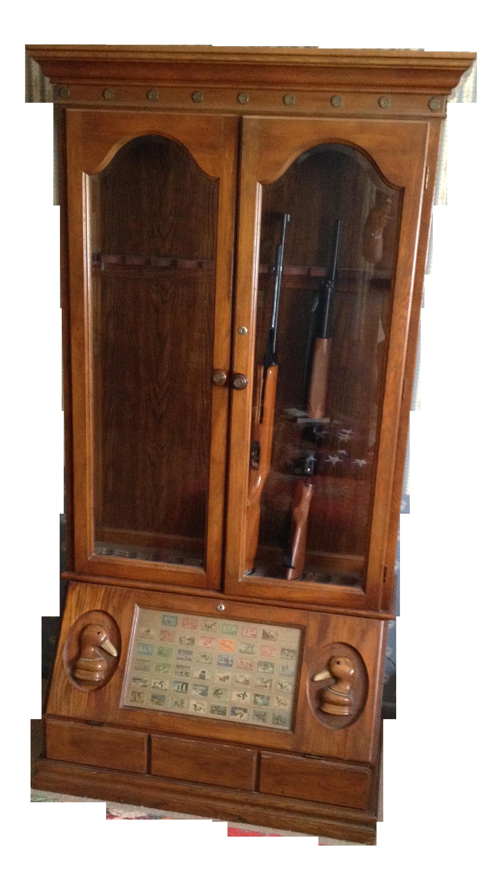 Delightful Duck Carved Gun Display Cabinet   Image 6 Of 6