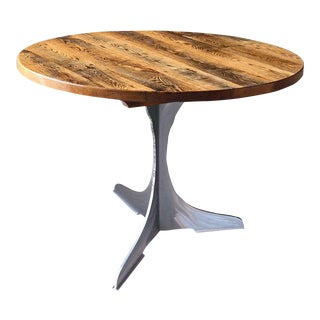Round Oak Top With Steel Pedestal Base Bistro Table