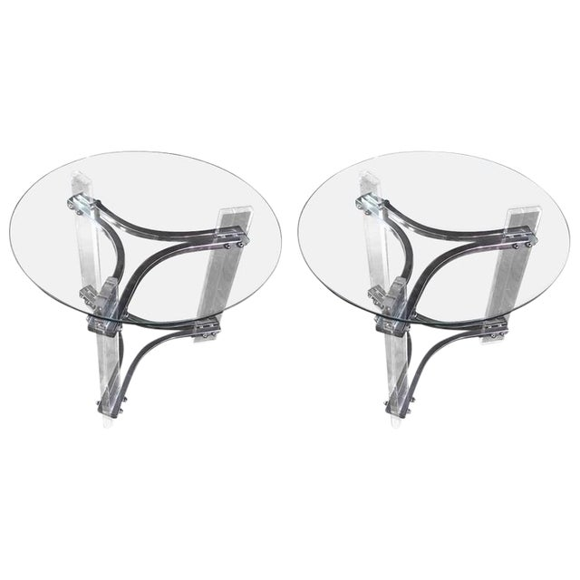 Mid Century Modern Lucite Chrome And Glass Side Tables A Pair