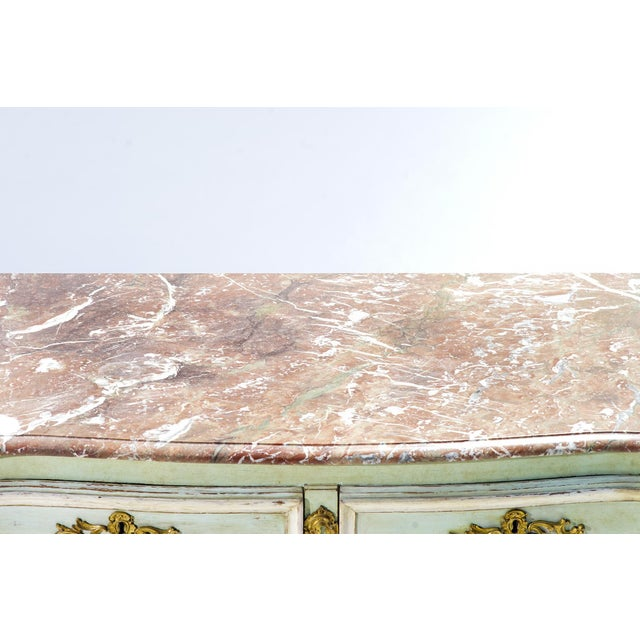 French 19th C. French Painted Marble Top Commode For Sale - Image 3 of 5