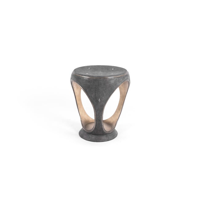 Ring Stool in Black Shagreen and Bronze-Patina Brass by R&y Augousti For Sale In New York - Image 6 of 13