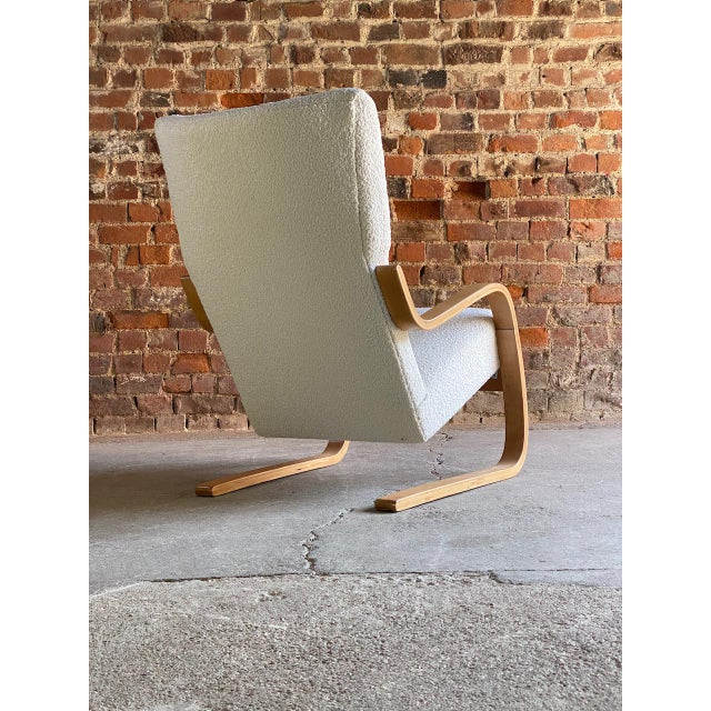 1940s Vintage Alvar Aalto Model 401 Cantilever Lounge Chair in Bouclé by Finmar For Sale - Image 9 of 12