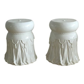 1960s Italian White Ceramic Garden Seats With Drapery Motif - a Pair For Sale