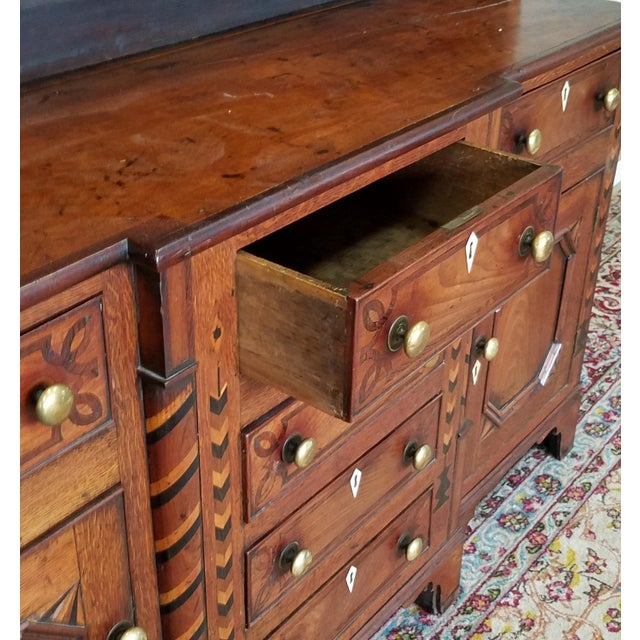 19th Century Antique Oak Inlaid Welsh/Jacobean Style Dining Room Hallway Cabinet Cupboard Hutch For Sale - Image 9 of 11
