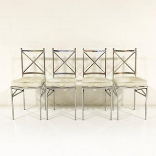 10 Mid-Century Swedish Polished Steel Dining Chairs With Custom Ivory Cowhide Cushions Preview