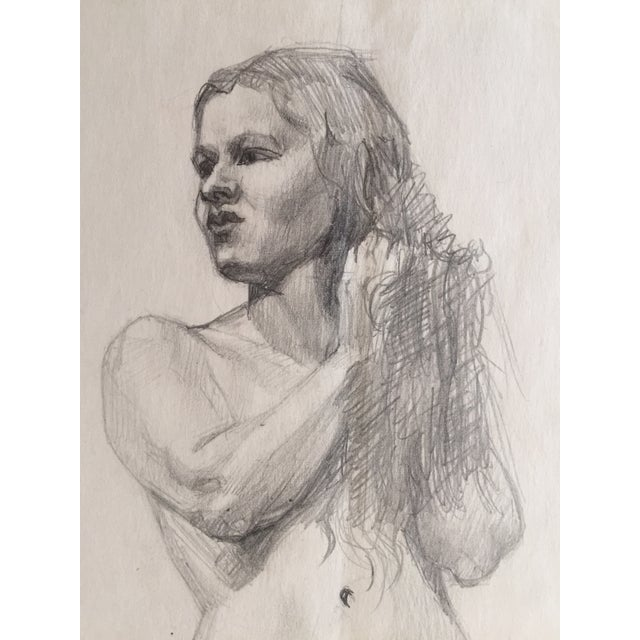 Traditional Mid-Century Drawing of Standing Nude Female For Sale - Image 3 of 4