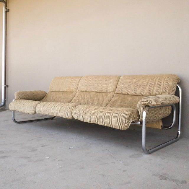 Tan 1970s Vintage Chrome Sling Sofa For Sale - Image 8 of 8