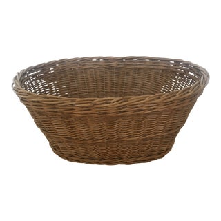 Vintage French Oval Wicker Basket For Sale