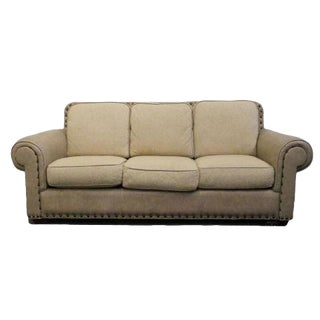 Late 20th Century Vintage Thomasville FurnitureLeather Sofa For Sale
