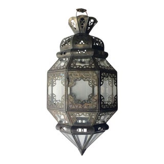 Handcrafted Moroccan Metal and Clear Glass Lantern, Octagonal Shape For Sale