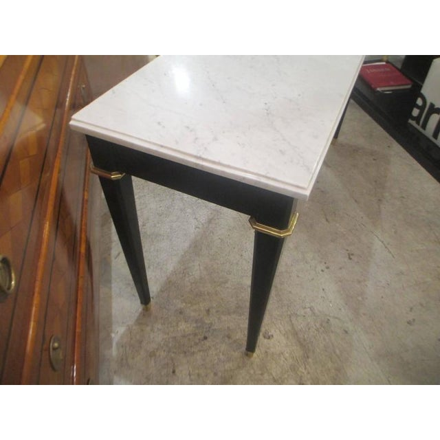 Ebonized Console With Marble Top Attributed to Maison Jansen For Sale - Image 4 of 9