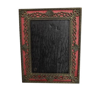 Shell and Heart Motif Bronze and Silk Maroon Photo Frame For Sale