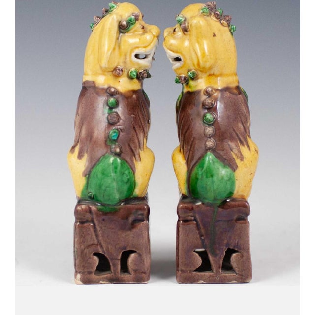 Chinese 20th Century Chinese Sancai Glazed Porcelain Foo Dogs - a Pair For Sale - Image 3 of 7