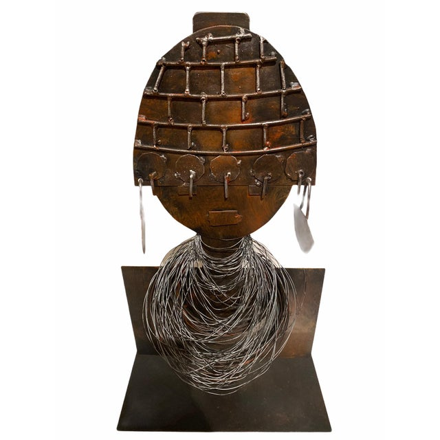 Late 20th Century Modernist Style African Queen Metal Sculpture For Sale In San Francisco - Image 6 of 11