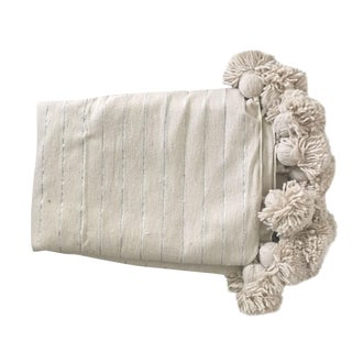 Cream and Silver Pompom Throw For Sale