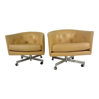 Mid-century Modern Barrel Back Lounge Chairs - a Pair