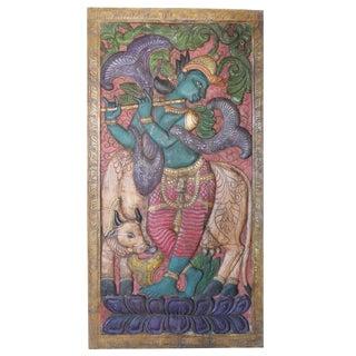 Antique Krishna Door Panel Hand Carved Fluting Krishna & His Cow Zen Wall Sculpture