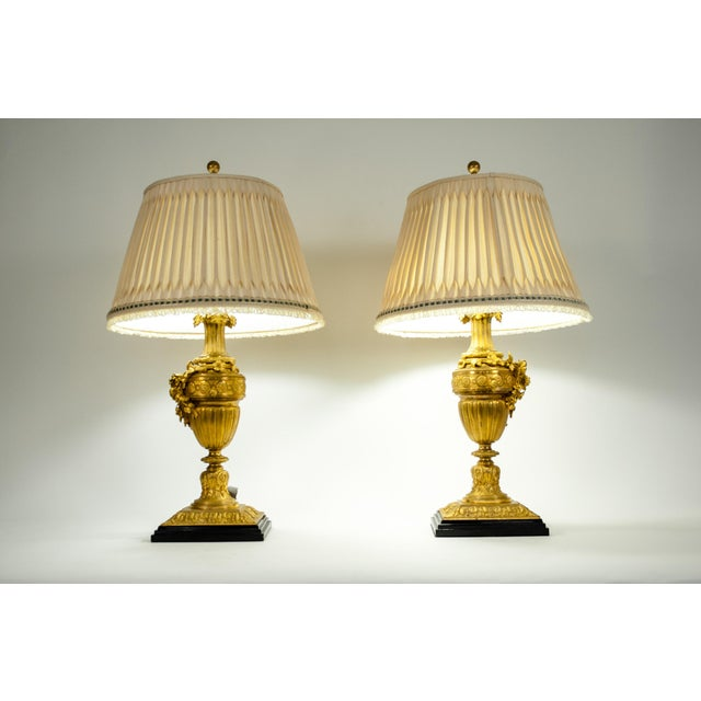 Louis XVI Style Doré Bronze Table Lamps - a Pair For Sale In New York - Image 6 of 13