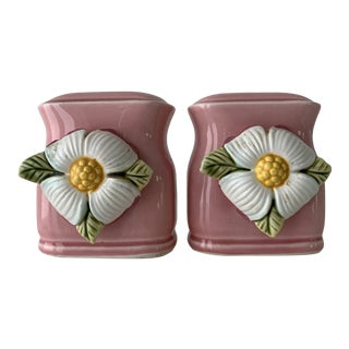 Mid-Century Pink Floral Salt and Pepper Shakers For Sale