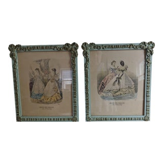 19th Century French Fashion Prints in Wood Frames - a Pair For Sale