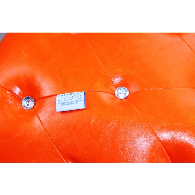 White Pasargad N Y Pu Orange Leather Ottoman For Sale - Image 8 of 13