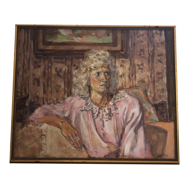 1980s Woman Portrait Painting For Sale