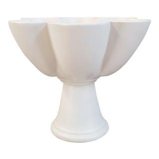 Vintage Glazed Pottery Pedestal Bowl For Sale