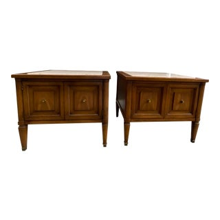 Mid-Century Walnut and Travertine End Tables - a Pair For Sale