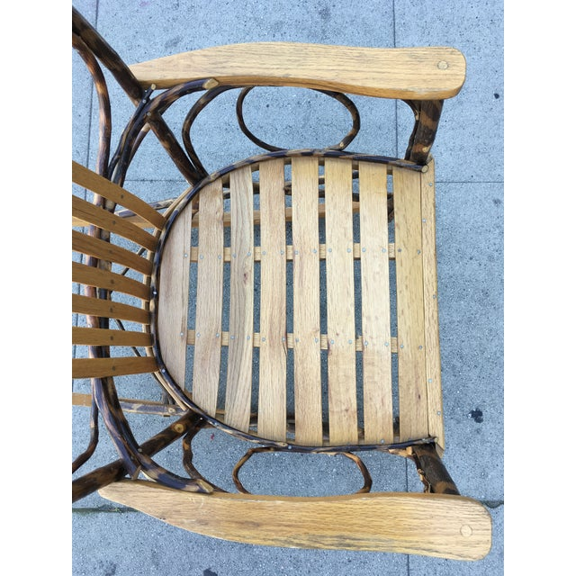 Brown Late 20th Century Rustic Adirondack Oak and Hickory Twig Rocking Chair For Sale - Image 8 of 11