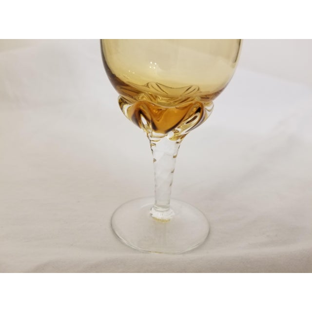 Vintage Venetian Blown Glass Amber Decanter & Cordial Glasses - Set of 4 For Sale - Image 12 of 13
