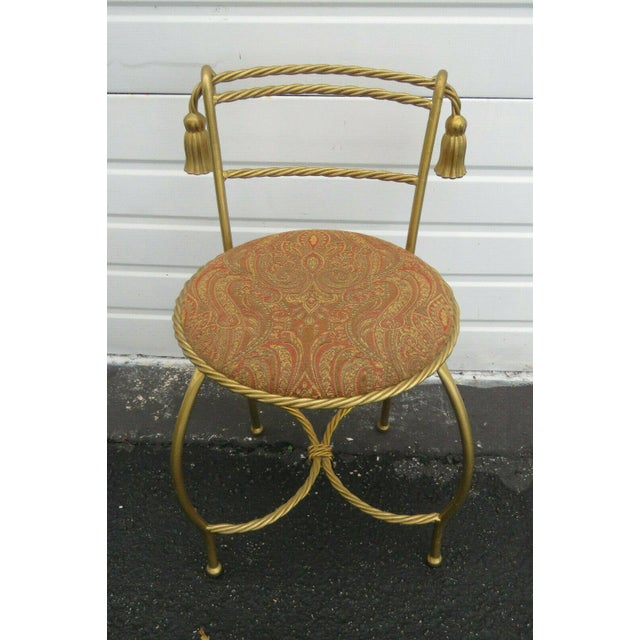1970s Vintage Hollywood Regency Painted Gold Iron Vanity Stool For Sale - Image 11 of 11
