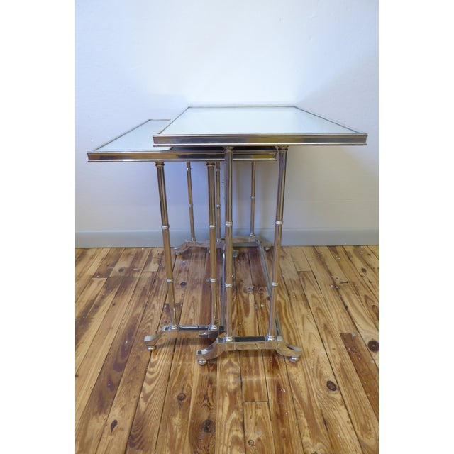 1950s 1950s Hollywood Regency Bronze Mirrored Nesting Tables - a Pair For Sale - Image 5 of 5