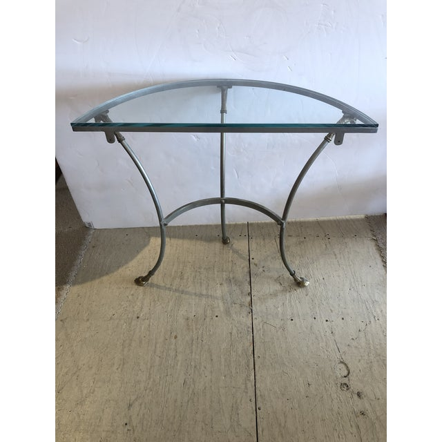 Maison Jansen Style Steel & Brass Demilune Console With Rams Heads For Sale - Image 10 of 11