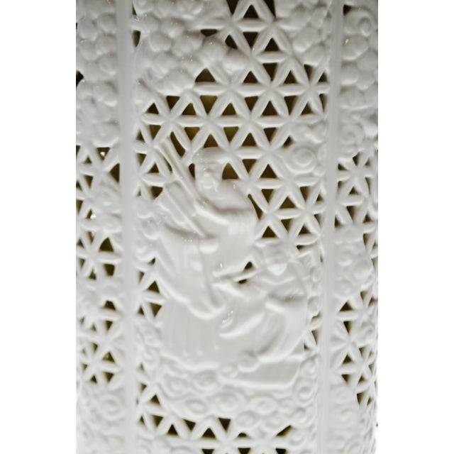 Seyei Blanc De Chine Reticulated Porcelain Lamp - Image 4 of 11
