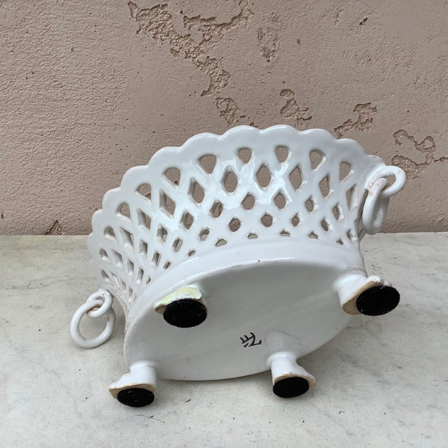 Ceramic French White Reticulated Basket Emile Tessier, circa 1920 For Sale - Image 7 of 9
